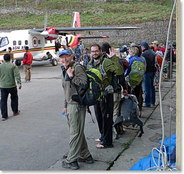Happy climbers departing Lukla