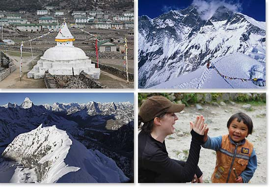 Top left: Chorten along the trails; Top right: Prayer flags on Island Peak; Bottom left: Incredible views of the summit ridge; Bottom right: Happy faces greet us along the trails