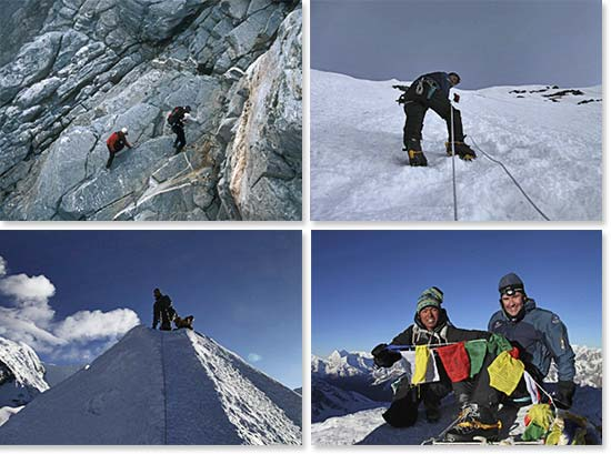 Top left: The approach to Island Peak; Bottom left: Climbing up the summit ridge; Top right: Climbing fixed lines to reach the summit; Bottom right: Summit success!
