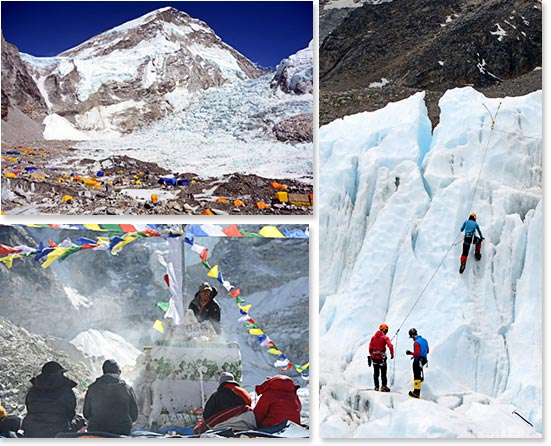 Top left: Everest Base Camp; Bottom left: Pooja ceremony before the climb begins; Right: Practicing on the seracs near Everest Base Camp