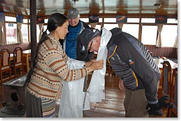 Receiving Khata blessing scarves in Pangboche
