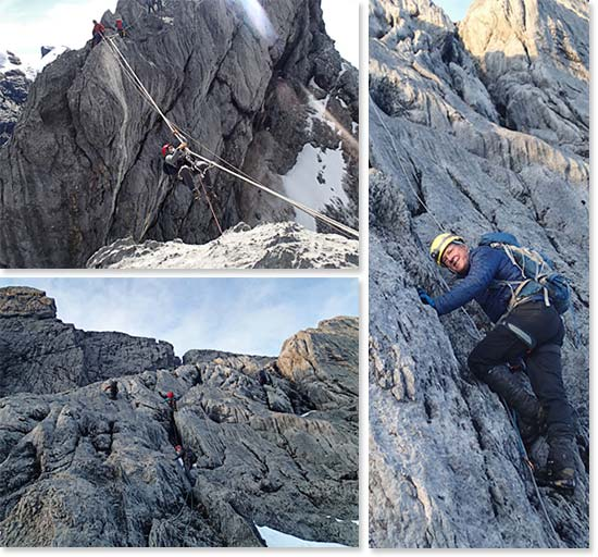 Upper left: Climbers going up on summit day; Lower left: A thrilling Tyrolean traverse near the summit ridge; Right: Climbing fixed lines to the summit
