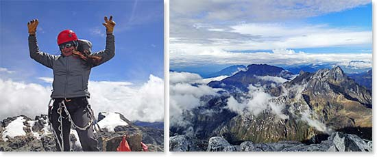 Left: Summit success! Right: Rewarding views from the summit