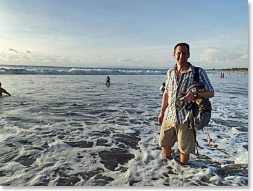 Finishing a Carstensz Pyramid expedition by soaking your feet in the oceans in Bali!
