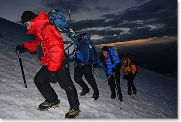 Climbing Mount Elbrus in the early morning light