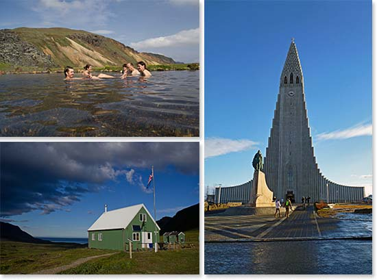 Iceland: natural hot spring, Iceland architecture, and the Hallgrímskirkja church in Reykjavik