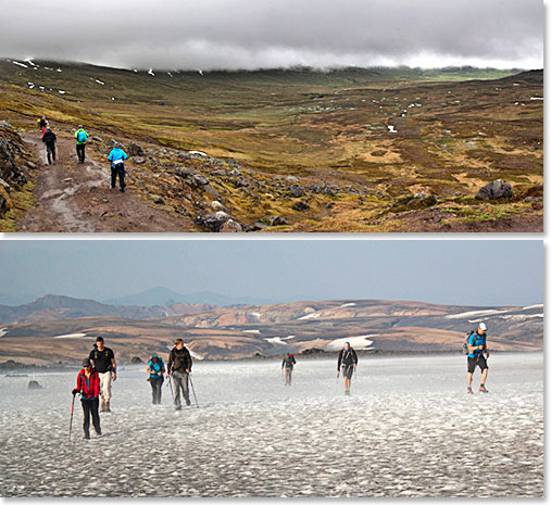 Trekking through the ever changing Icelandic landscapes