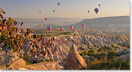 The typical morning view from our hotel in Cappadocia