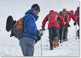 Walking with crampons on Mount Ararat