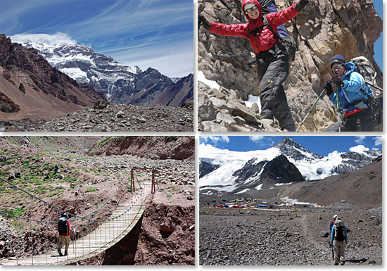 Upper left: The summit of Aconcagua awaits; Upper left: A spirit of fun; Lower left: Crossing the Horcones River; Lower right: Approaching Plaza de Mulas Base Camp