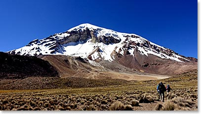 Hiking into Sajama Base Camp