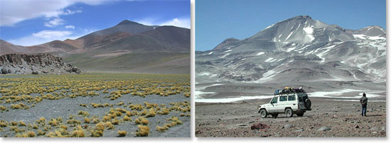 Left: Sandy peaks of the Atacama Desert; Right: Our Land Cruiser at the base of Ojos del Salado