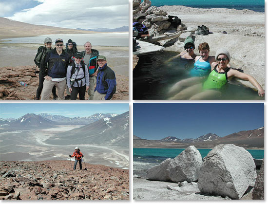 Uppder left: Group shot at Laguna Santa Rosa; <strong>Upper right: Recovering in natural hot springs; Lower left: Approaching the summit of an unnamed peak; Lower right: Boulders on the lake shore