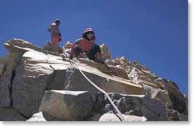 Easy rock section near the summit of Ojos