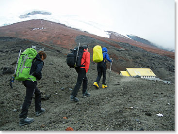 Approaching Jose Ribas hut in Cotopaxi; 14,750ft(4,500m)