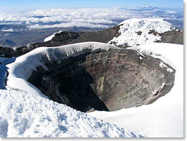 The Cotopaxi crater - At its summit, Cotopaxi has an 800 X 550 m wide crater which is 250 m deep.
